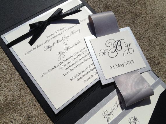 Black And Silver Wedding Invitations: Square Pocket Wedding Invitations