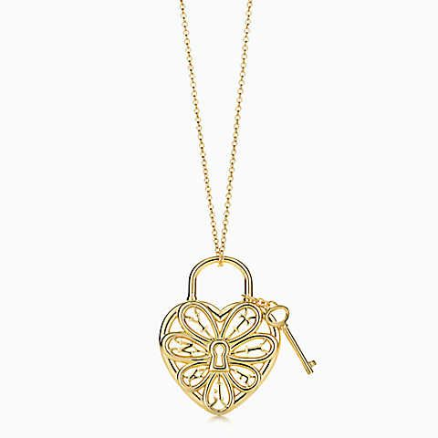 130784c5bc56 Tiffany Filigree Heart pendant with key in 18k gold