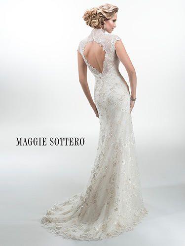 Lace, low back wedding dress. Wedding dress with keyhole back. Lace ...