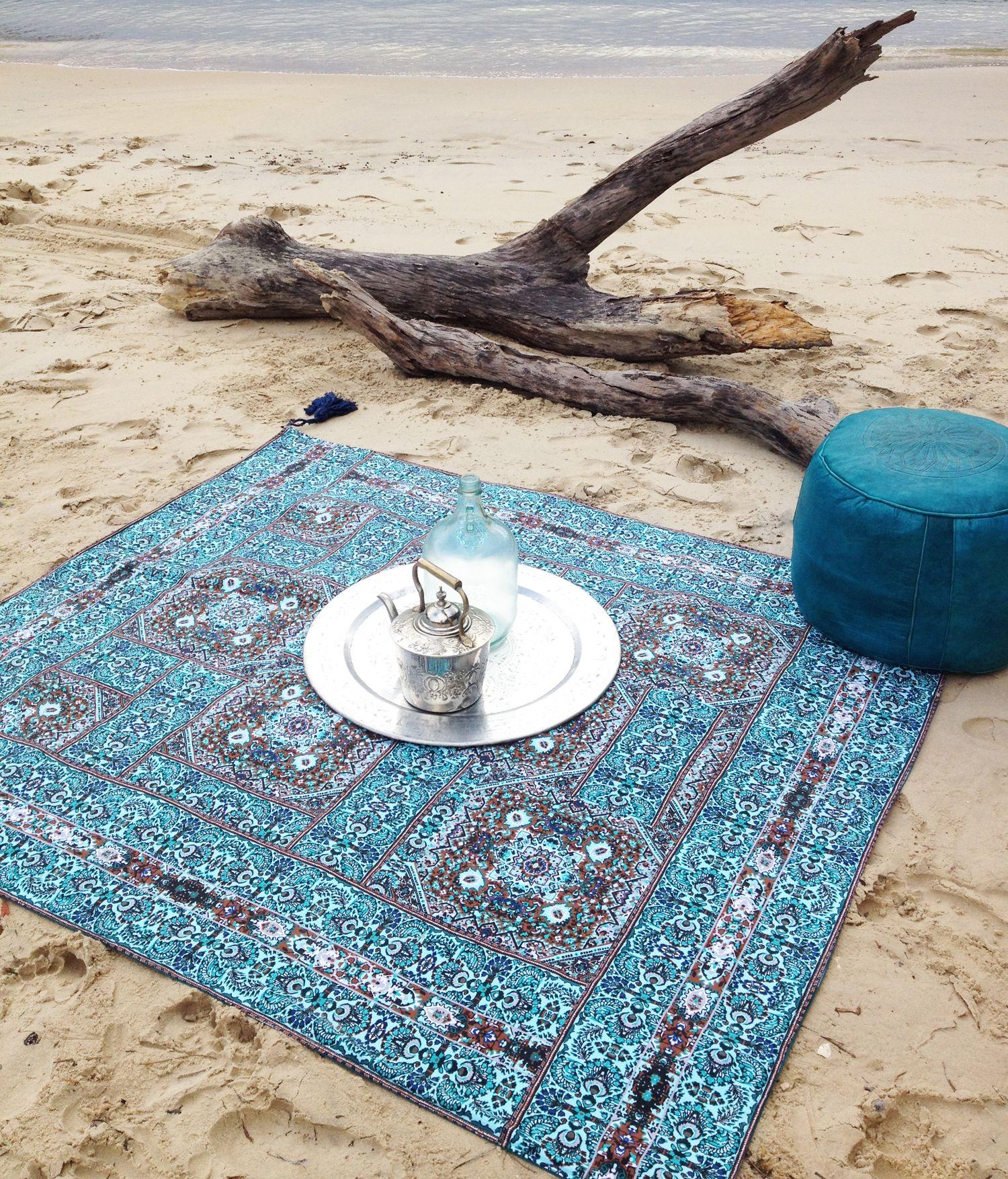 Wandering Folk Turquoise Drift Picnic Rug Livingroom