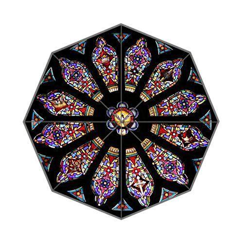 Exclusivo Valle pelota  EnnE Circular Stained Glass Window Umbrella Foldable Umbr... | Parapluie