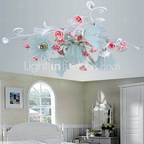 Vintage rose chandelier for girl nursery Ceiling lights