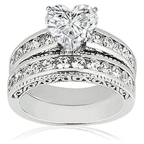 090 ct heart shaped diamond vintage engagement wedding rings set 14k vs2 g gia - Heart Wedding Ring Set