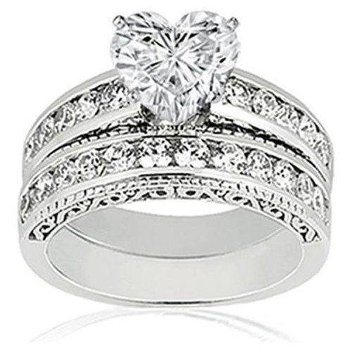 0.90 Ct Heart Shaped Diamond Vintage Engagement Wedding Rings Set 14K VS2 G  GIA