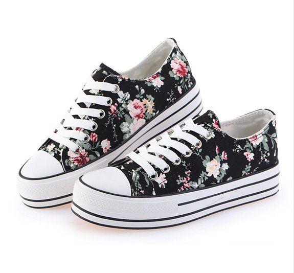 d2ab08a159cda Amazon.com: Anna&zero® New Women Girls' Floral Deep Platform Canvas ...