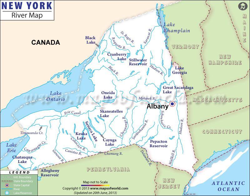 New York Rivers Map  New York Map  Pinterest  Rivers