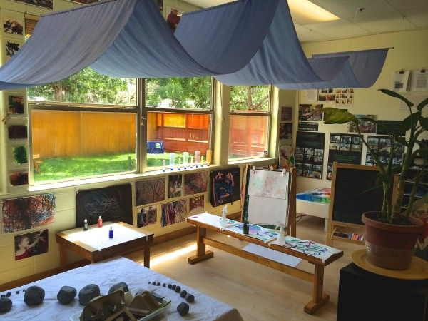 Reggio Classroom Design : Love the draped sheet and arrangement of tables home