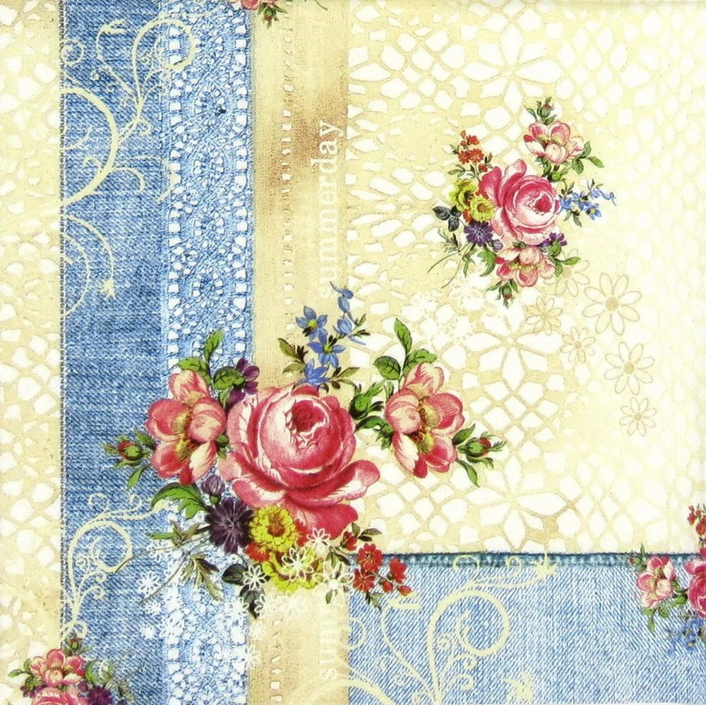 4x Paper Napkins for Decoupage Decopatch Craft Cute Flowers