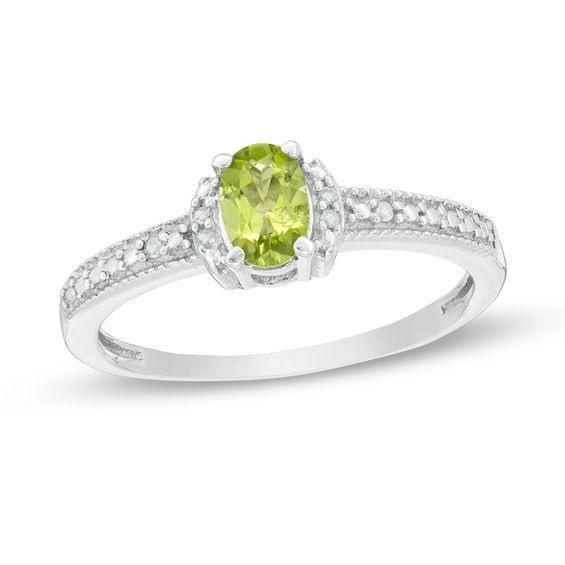Zales Oval Peridot Fashion Ring in Sterling Silver rudAsOfz