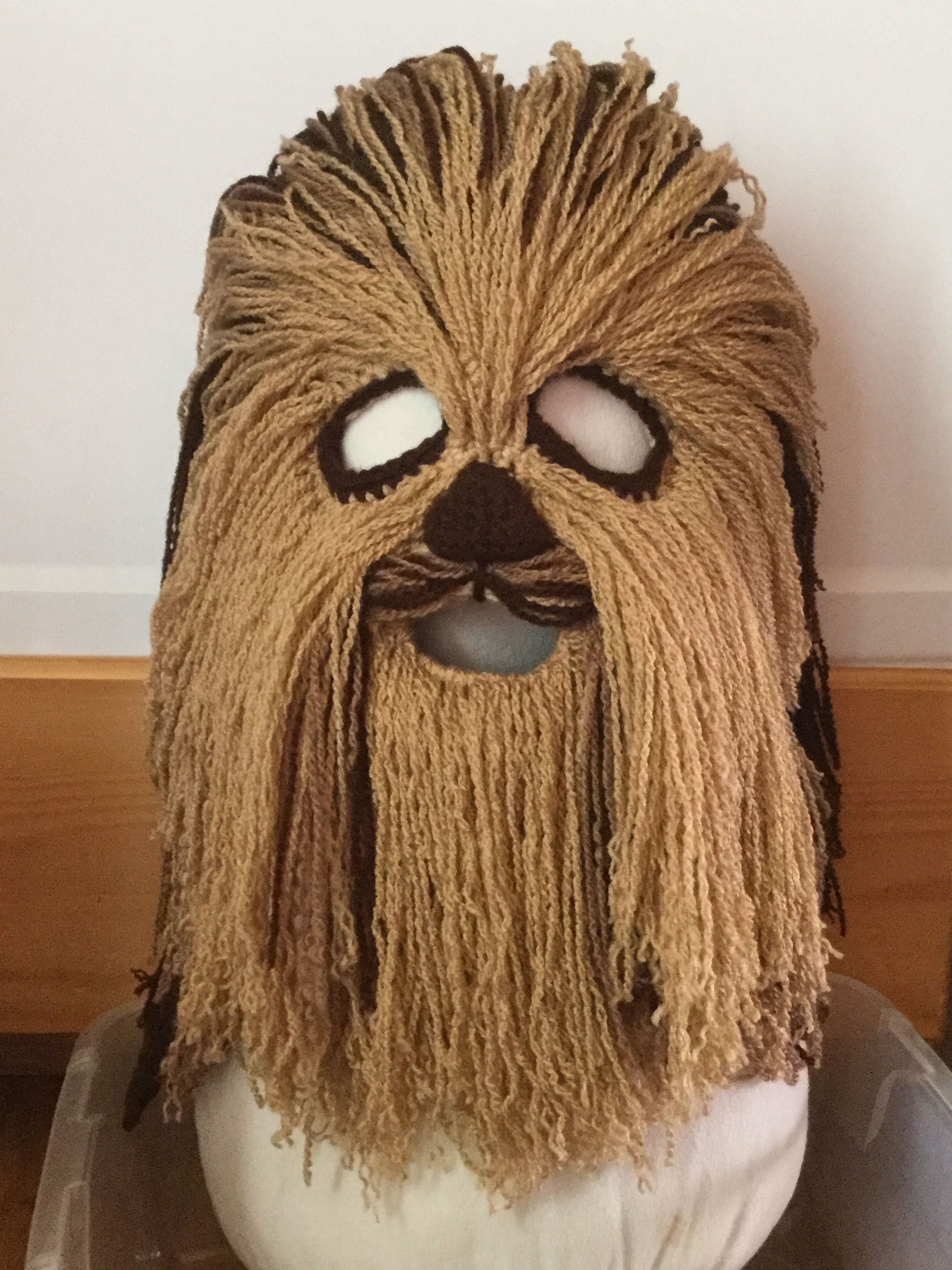 Crochet Chewbacca Mask No pattern. Crochet ski mask, added a nose ...
