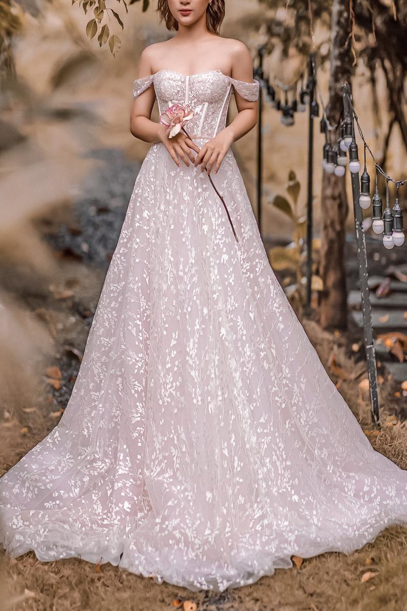Mandy Blush Pink Wedding Dress Detachable Off The Shoulder Etsy Blush Pink Wedding Dress Blush Wedding Gown Pink Wedding Gowns [ 1191 x 794 Pixel ]