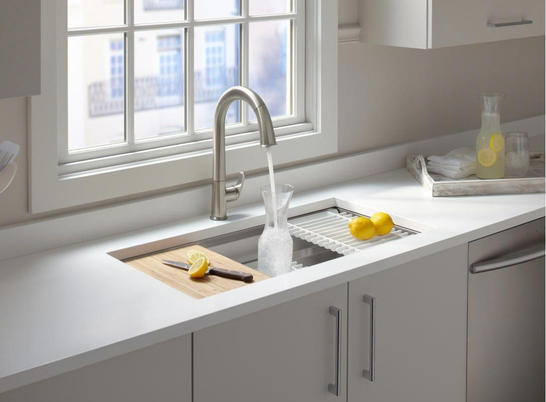 Kohler K 5540 Na Stainless Steel Prolific 33 Workstation Single Basin Undermount Kitchen Sink With Silent Shield Technology And Accessories Included In 2020 Single Basin Kitchen Sink Best Kitchen Sinks Undermount Kitchen Sinks