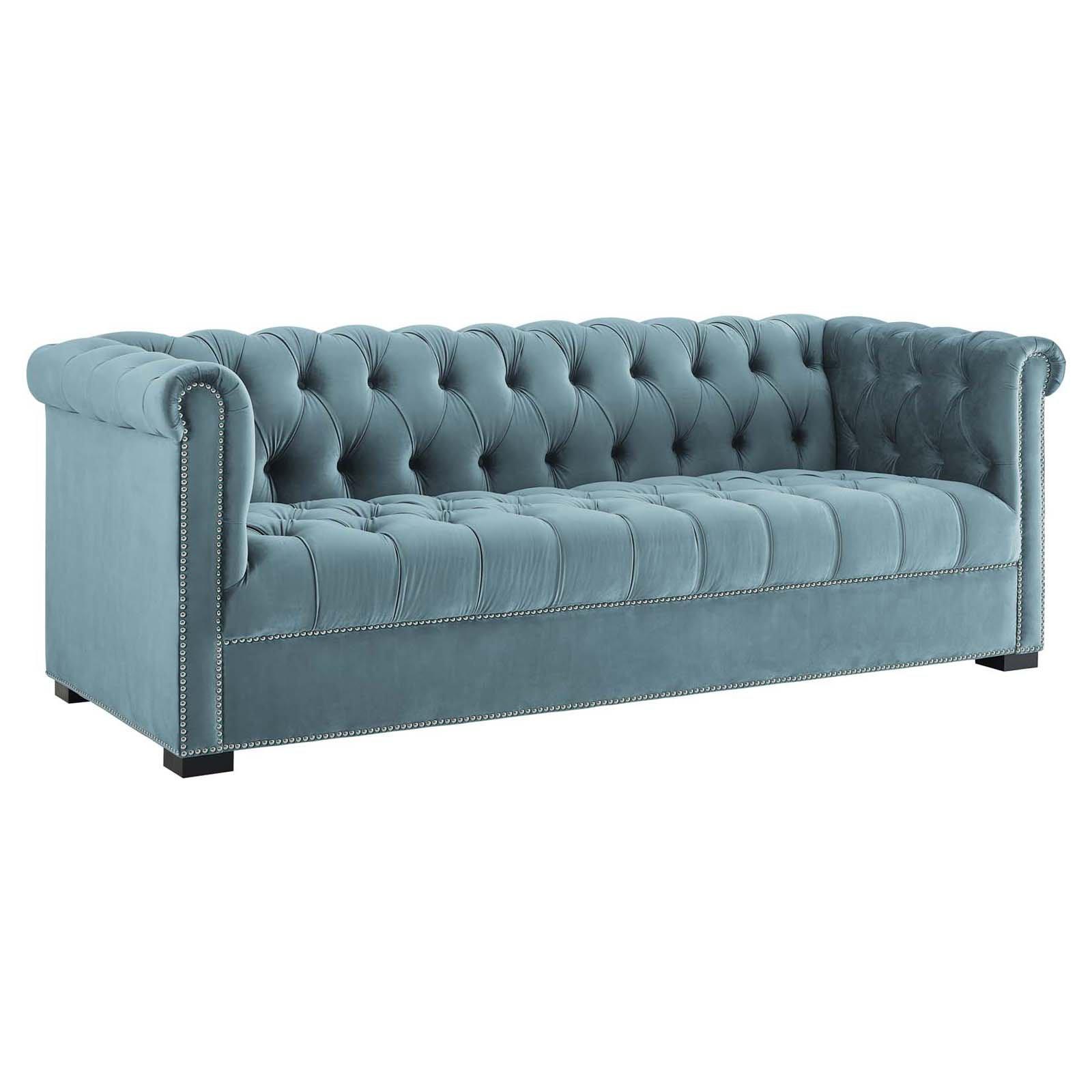 Modway Heritage Upholstered Velvet Sofa Chesterfield Style Sofa