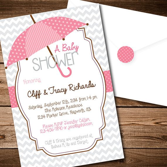 Printable Baby Shower Umbrella Invitations - Baby Girl with Gray Chevron on Etsy, $12.95