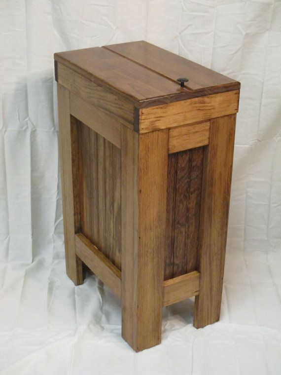 Wooden Trash Bin Kitchen Garbage Can Recycle By BuffaloWoodShop
