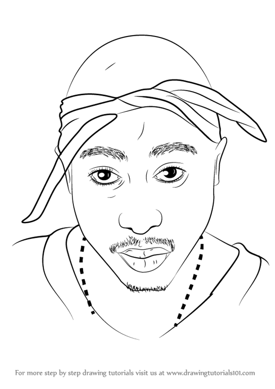Learn How To Draw 2pac Rappers Step By Step Drawing Tutorials Tupac Artwork Tupac Art Eminem Drawing