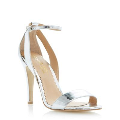 Silver high heel ankle strap two-part