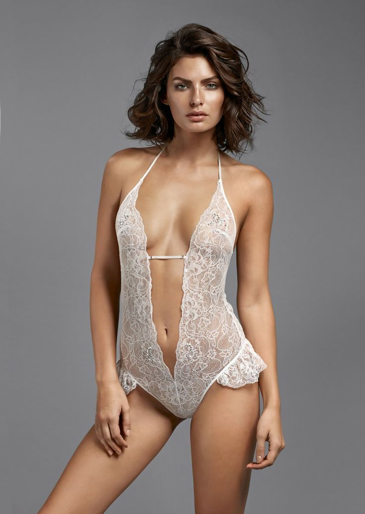White lace one piece lingerie.