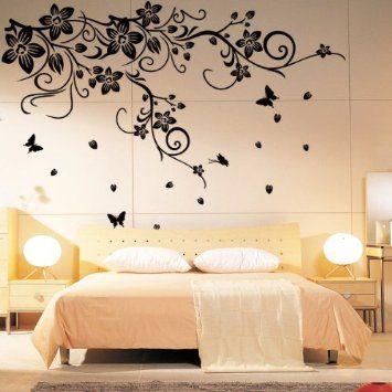 Pvc vine flower butterflies removable room art mural wall sticker decal amazon ca