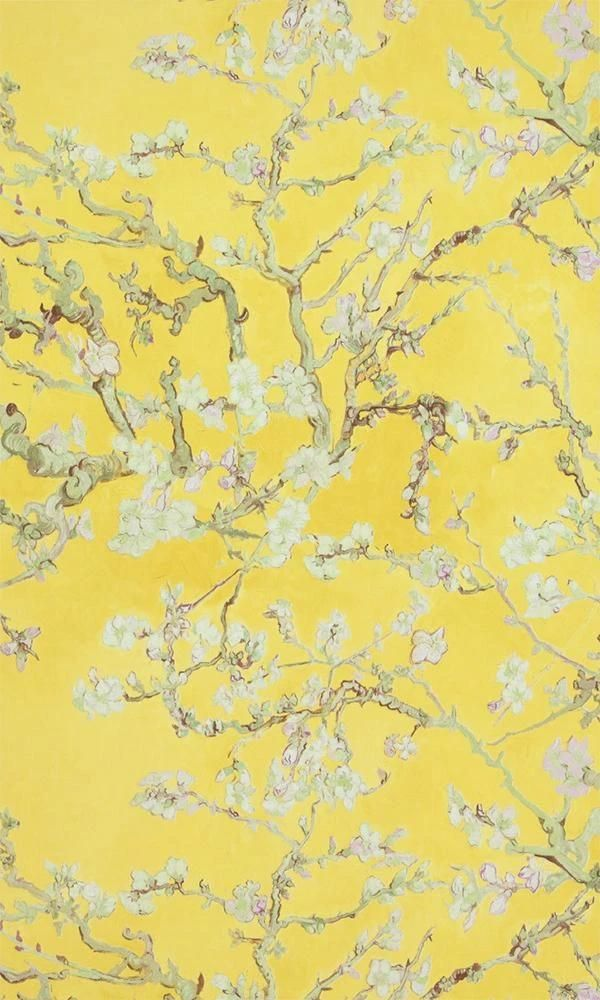 Yellow Almond Blossom Bold Floral Wallpaper by Walls Republic