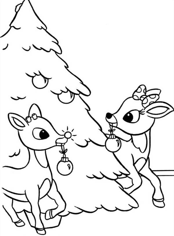 Rudolph And Clarice Decorated Christmas Tree Coloring Page Color Luna Tree Coloring Page Christmas Tree Coloring Page Rudolph Coloring Pages