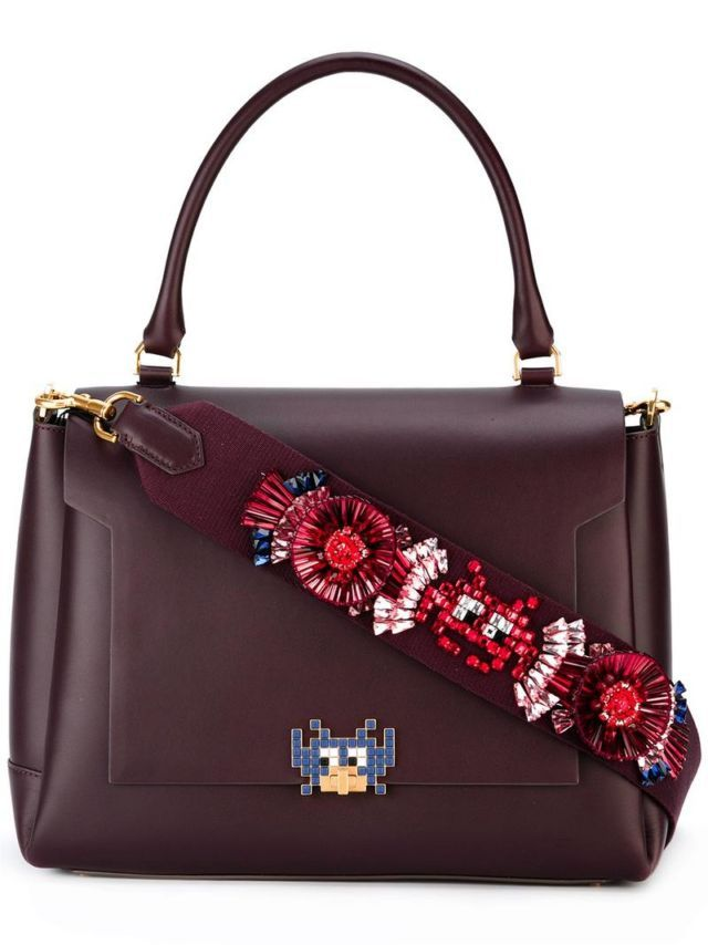 Burgundy red calf leather arcade motif embellished tote from Anya  Hindmarch. Size  OS. Color  Red. Gender  Female. Material  Calf Leather. 127ff7ae7758c