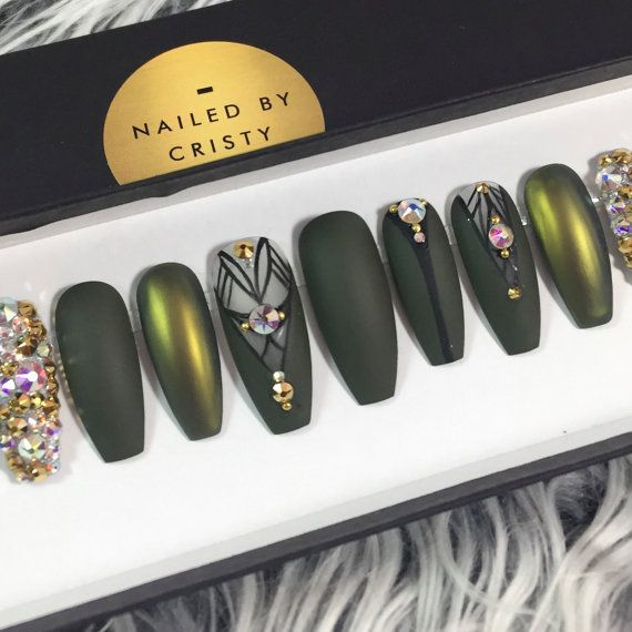 Matte Olive Green and Duochrome Press On Nails by NailedByCristy ...