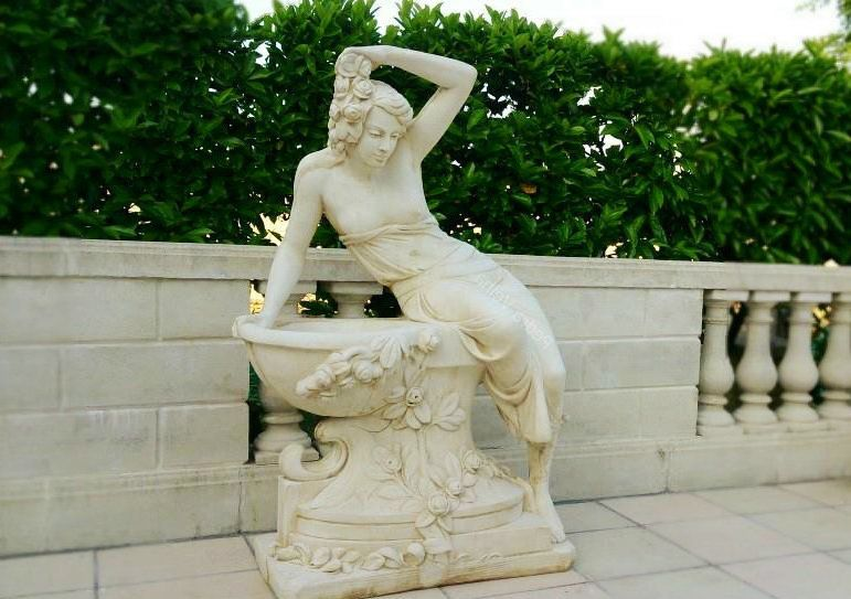 Giant Greek Lady Reclining On Well With Flower Detail 140cm Tall