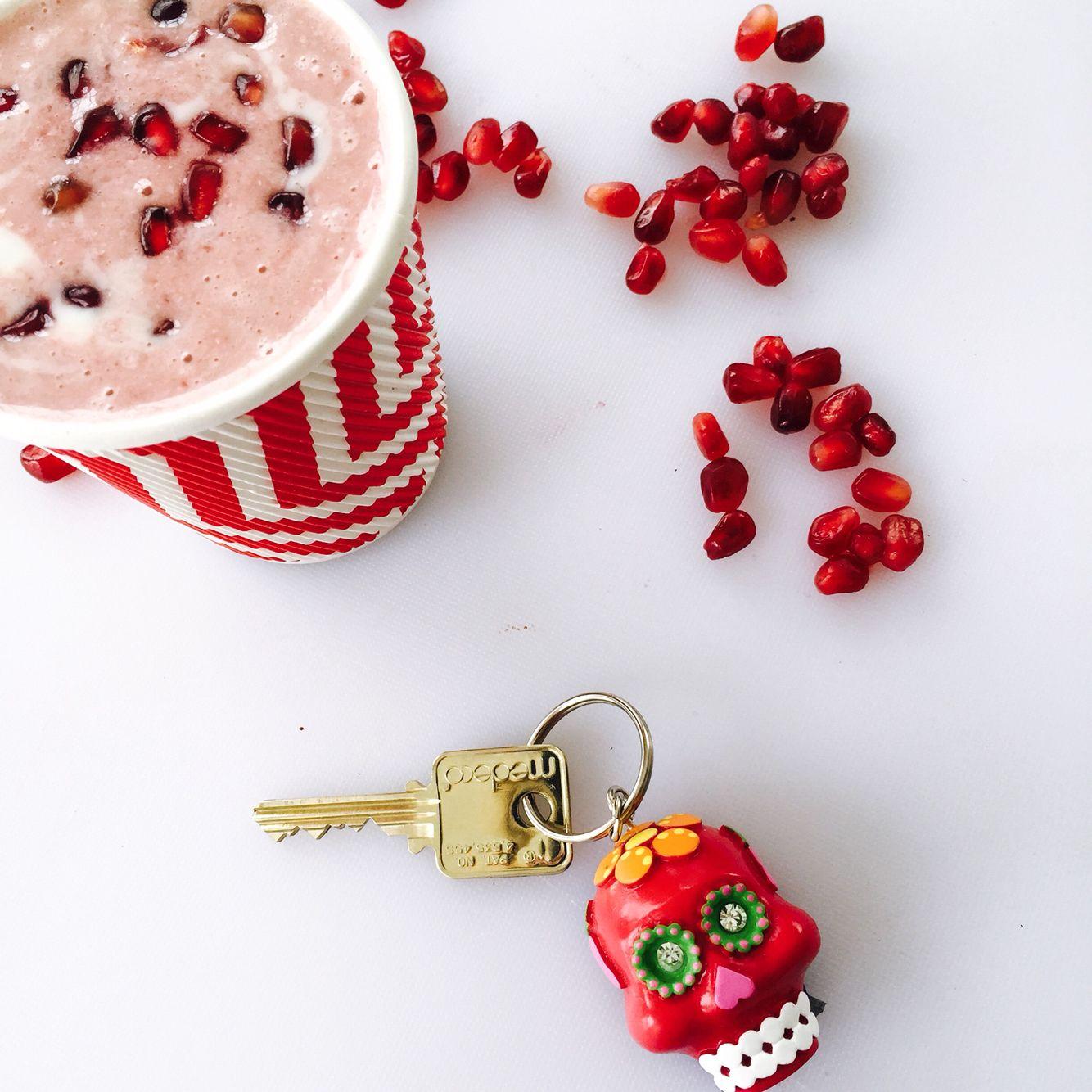 Pomegranate To Go Smoothie. Pomegranate seeds, coconut yogurt, few slices of frozen banana, vanilla, splash of fresh squeezed orange juice. http://www.pinterest.com/chakrapedia/c-h-a-k-r-a-s-h-a-k-e-s/