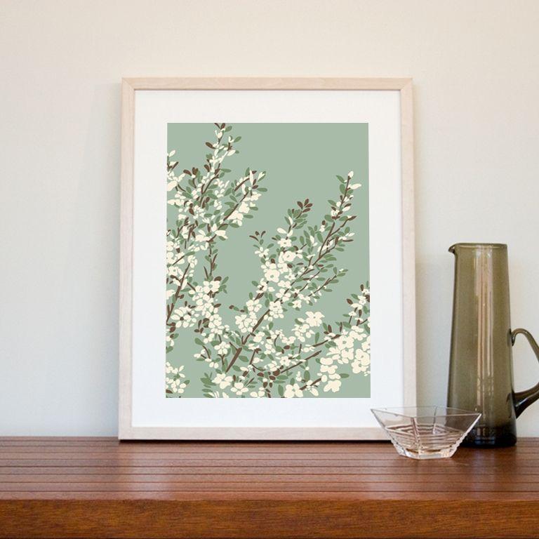 Coastal tea tree art print in sage green