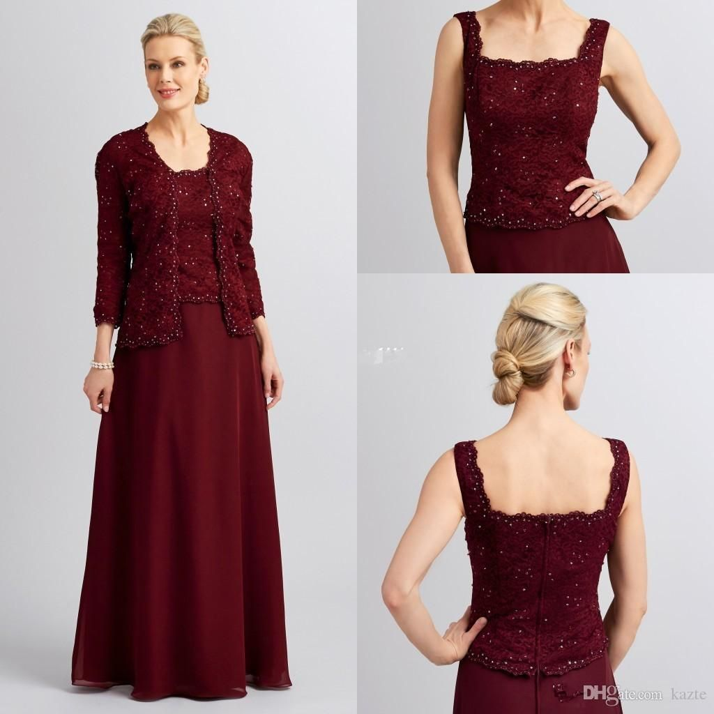 burgundy mother of the bride dress with jacket