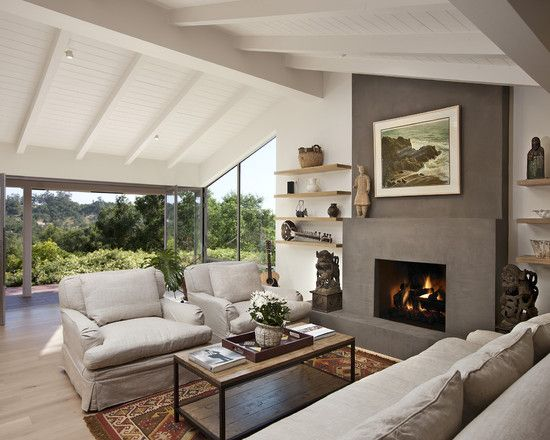 Slanted Wall / Sloped Ceiling Fireplace As Seen In Beautiful Homes U0026 Designs