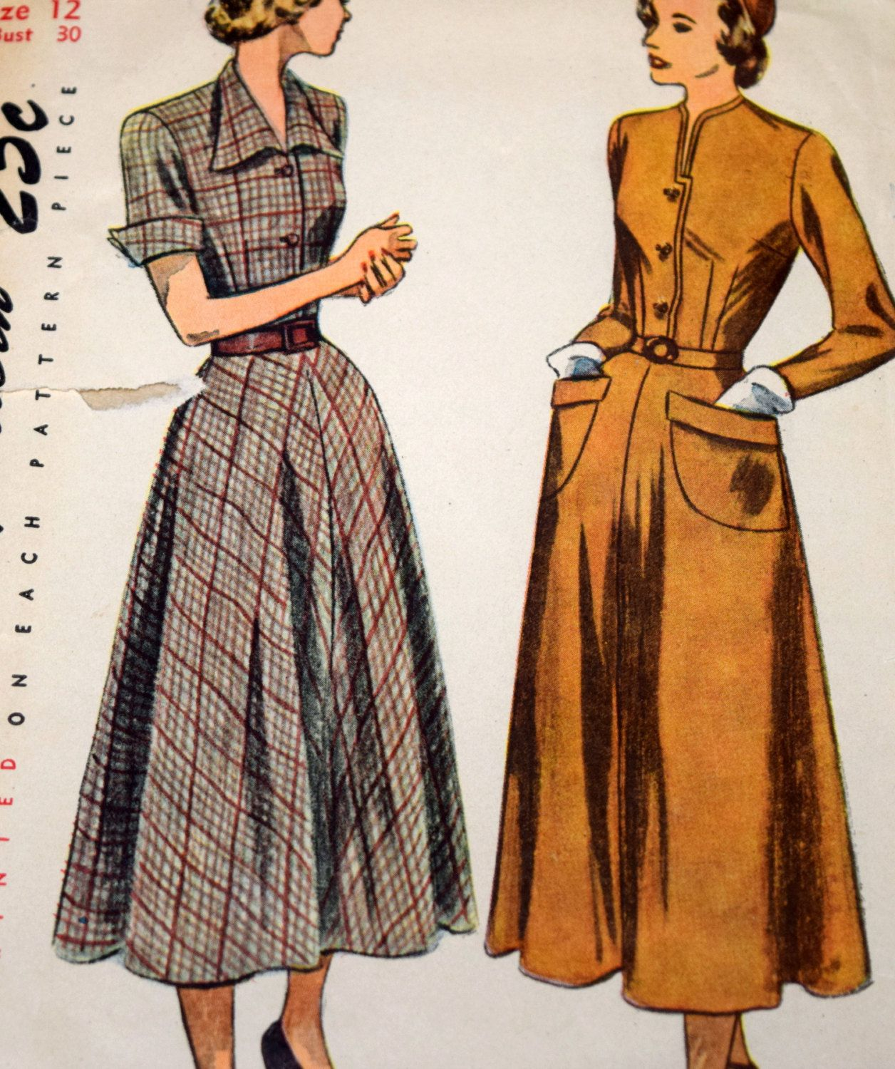Vintage 1940s Dress Sewing Pattern, Simplicity 2617, Size 12 Bust 30 ...
