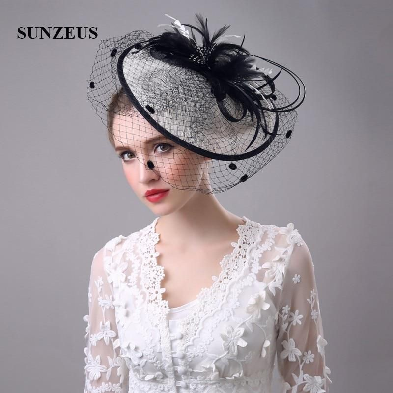 cbcd018c Black and Ivory Vintage Women's Hats Feathers Linen Bridal Hats with Face  Veil Women's Hair Accessories