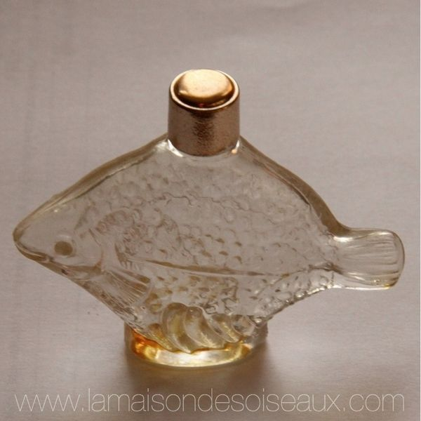 Old Perfume Glass Bottle Shaped Like A Fish Bottle