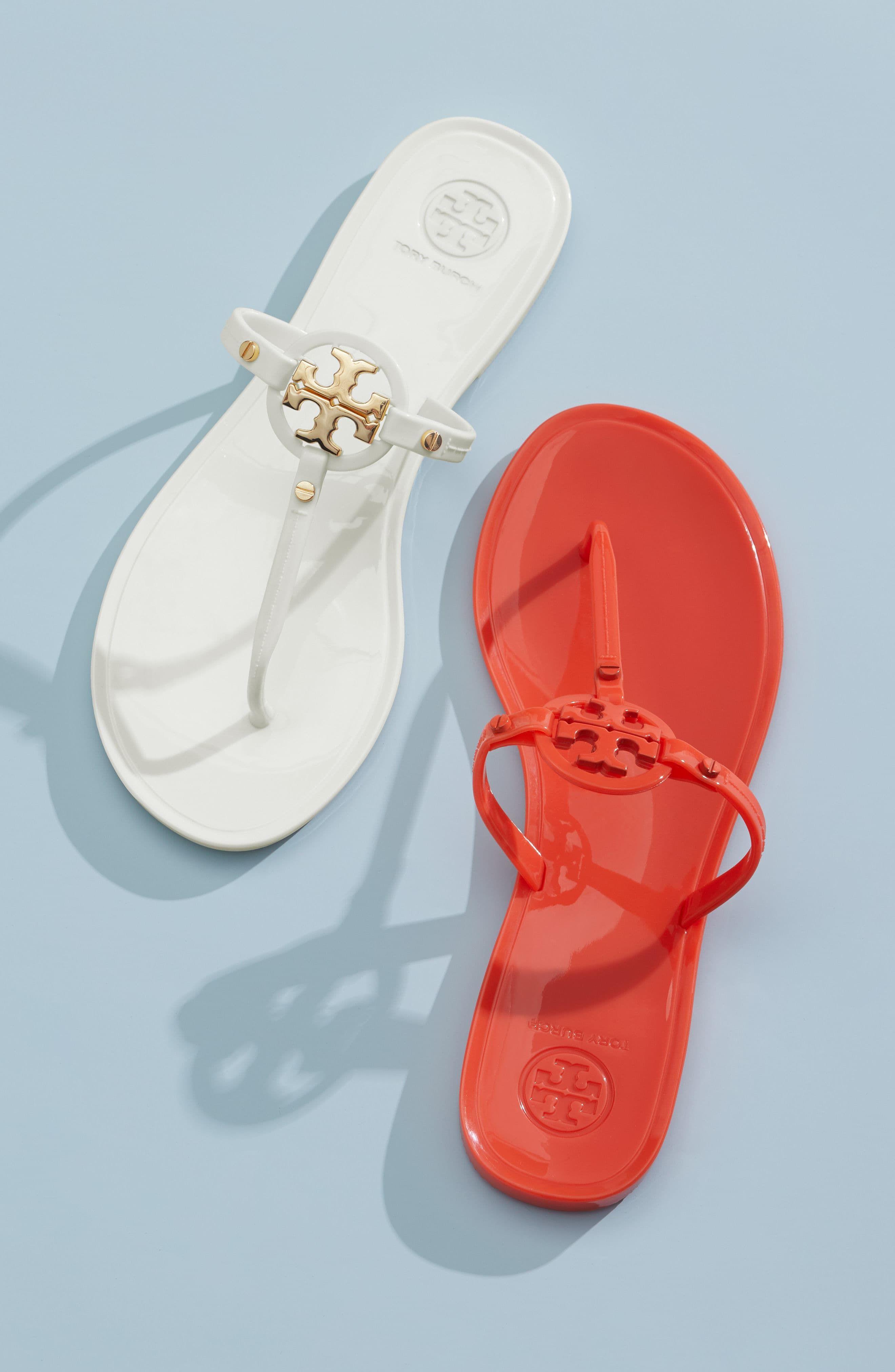 burgundy tory burch sandals