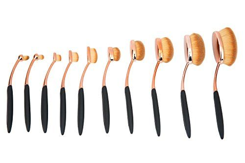 niceEshopTM 10 Pcs New Fashionable Soft Oval Multipupose Toothbrush Makeup Brush Foundation Brushes ** Learn more by visiting the image link.