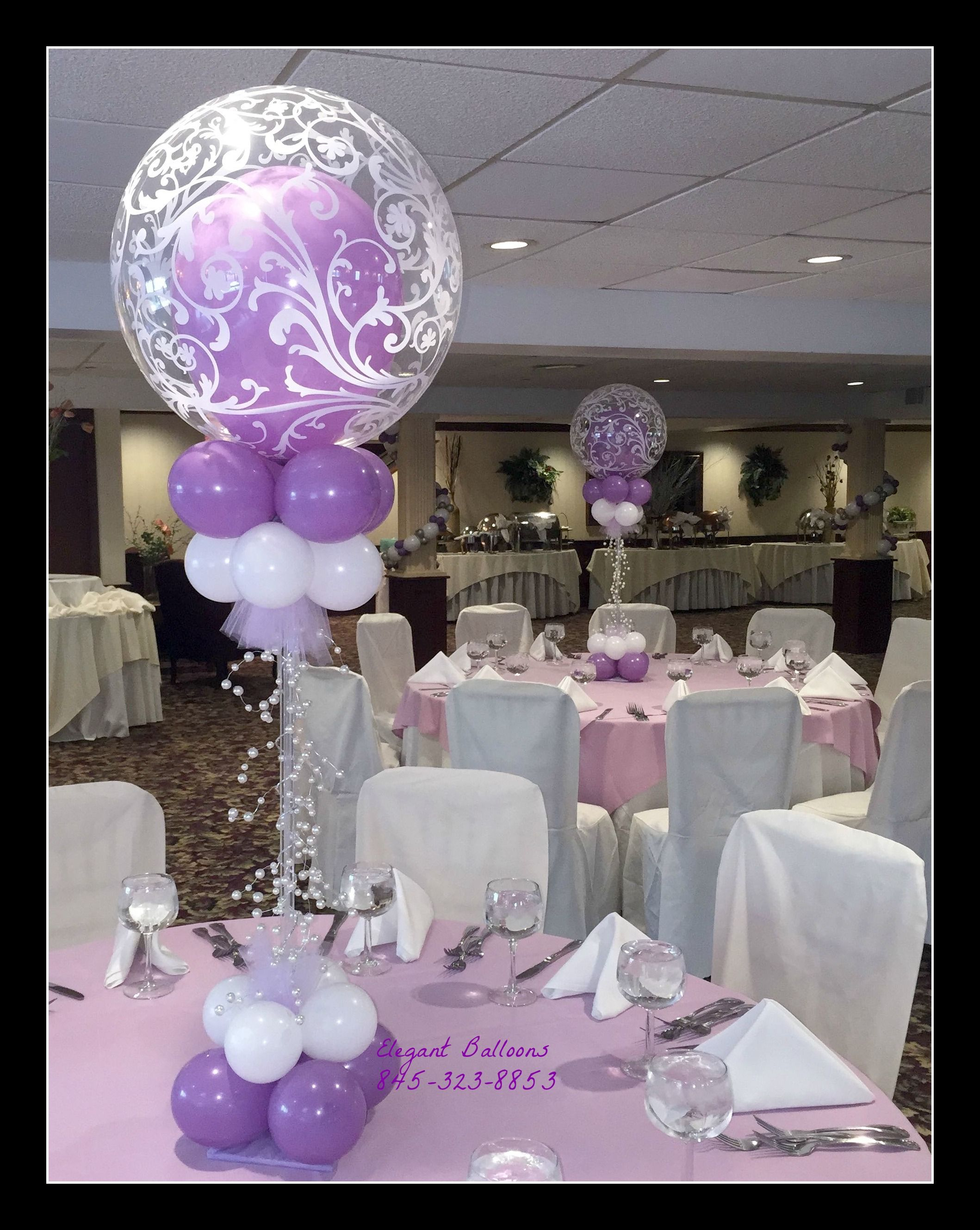 Beautiful filigree balloon centerpiece for communion for Balloons arrangement decoration