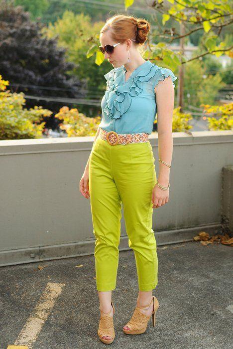 Pantalon Verde Limon Outfits Pantalon Verde Pantalones Verdes Ropa