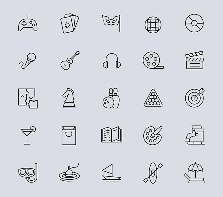 Free Download Elegant 25 Entertainment Line Icons