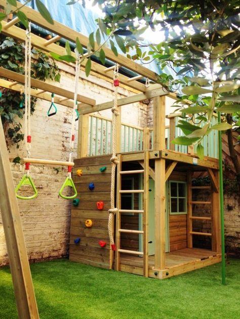 coole-gartengestaltung-mit-einem-spielhaus-aus-holz-mit-kletterwand - gartengestaltung mit holz