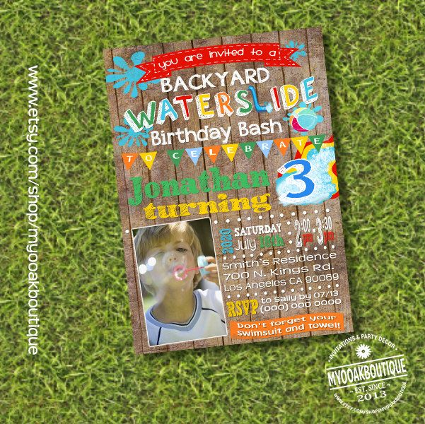 Waterslide Backyard Birthday Bash Invitation Water Slide Splish Splash Photo Invite Summer Party Wood Digital Printable