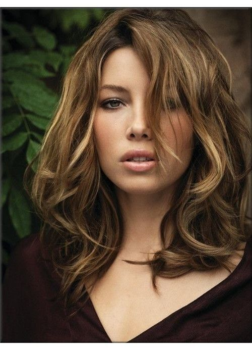 Jessica Biel Medium Length Hairstyle Haircut With Curly Side Pretty Designs