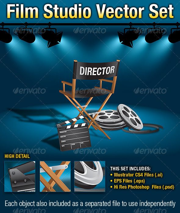 Film Studio Vector Set — Photoshop PSD #eps #director chair • Available here → https://graphicriver.net/item/film-studio-vector-set/299985?ref=pxcr