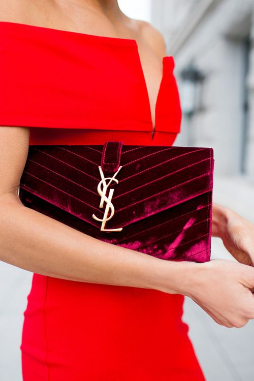 An Off-the-shoulder Red Dress And Velvet #YSL Clutch | Red | Pinterest | Ysl Shoulder And Purse
