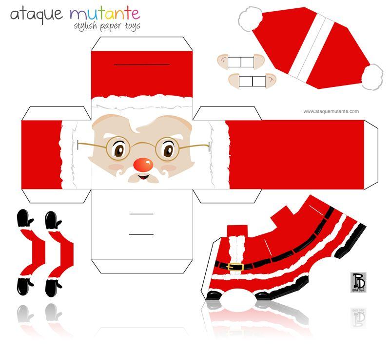 Très Adorno de Navidad de Papá Noel   Paper toys, Santa and Box WD42