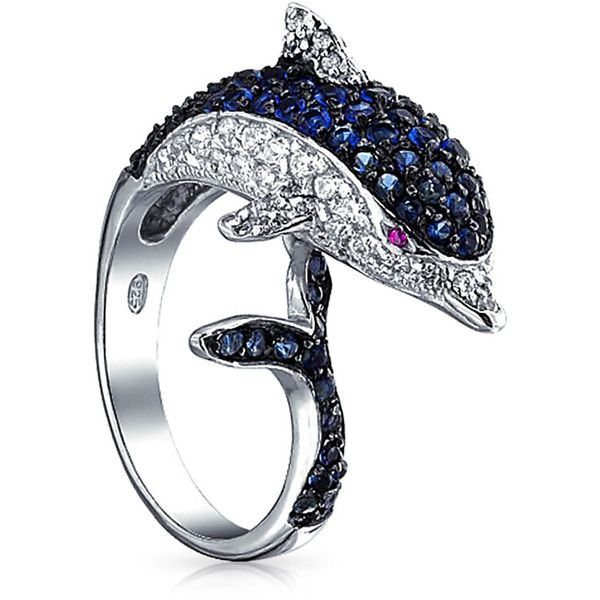 Rhodium Plated Blue and Clear Color CZ Dolphin Cocktail Ring ($45) ❤ liked on Polyvore featuring jewelry, rings, blue, theme jewelry, cz cocktail rings, blue cubic zirconia ring, cubic zirconia cocktail rings, nautical rings and cubic zirconia rings