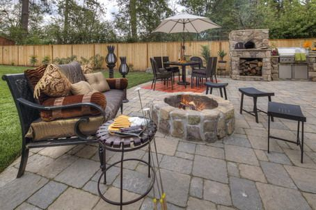 outdoor stone patio design ideas with barbeque stand and stone fireplace gorgeous patio design placed in - Bbq Design Ideas