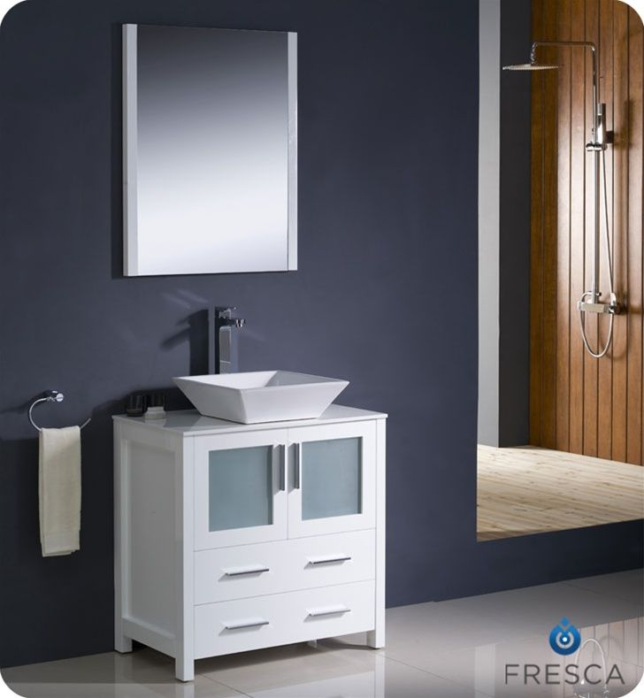 Fresca Torino White Modern Bathroom Vanity With Vessel Sink My - Cheap white bathroom vanity