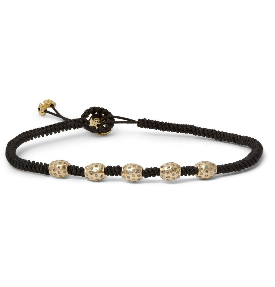 Luis morais gold diamond and macramé bracelet accessorized